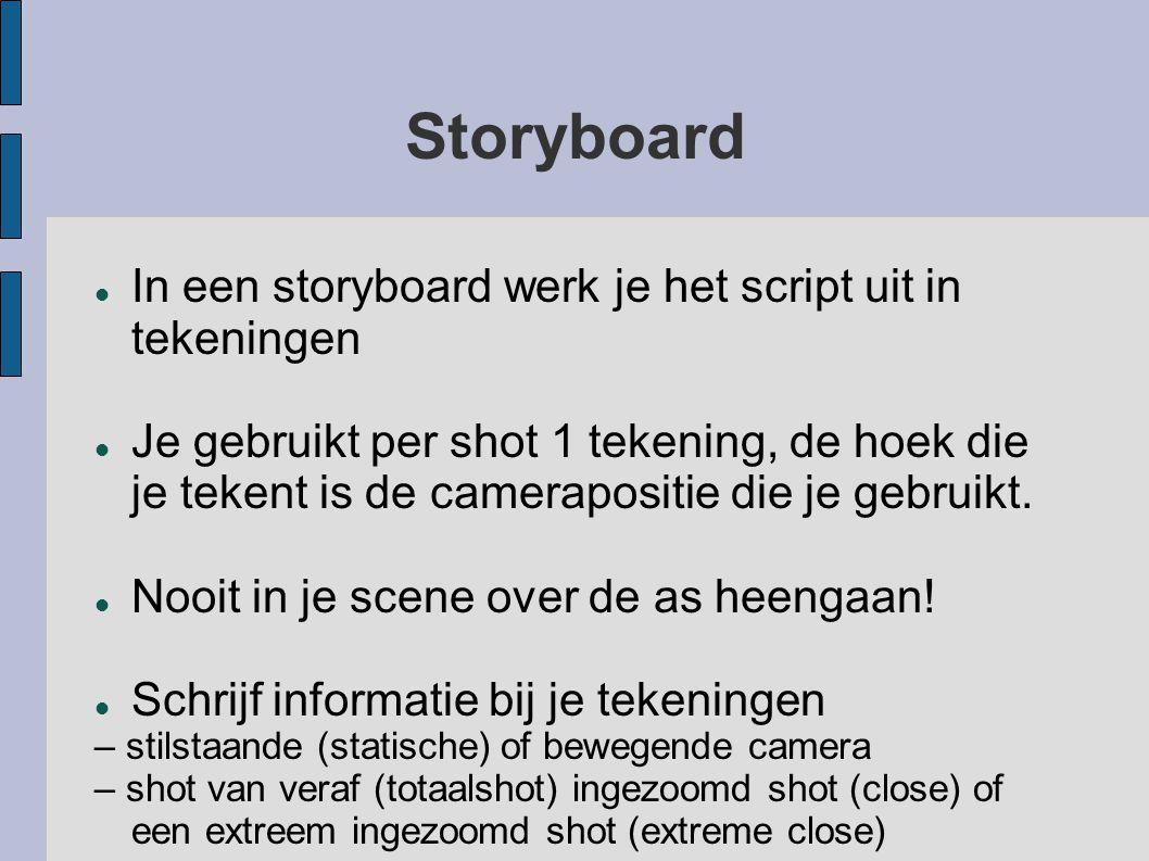 Storyboard In een storyboard werk je het script uit in tekeningen Je gebruikt per shot 1 tekening, de hoek die je tekent is de camerapositie die je ge