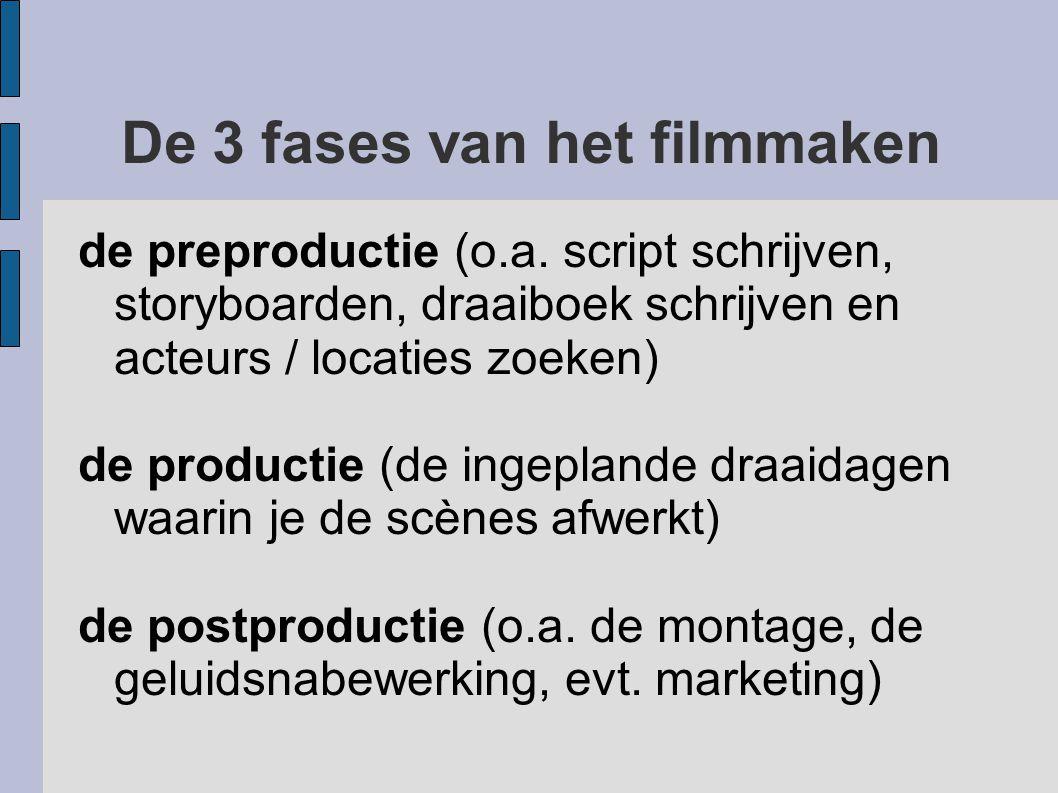 De 3 fases van het filmmaken de preproductie (o.a. script schrijven, storyboarden, draaiboek schrijven en acteurs / locaties zoeken) de productie (de