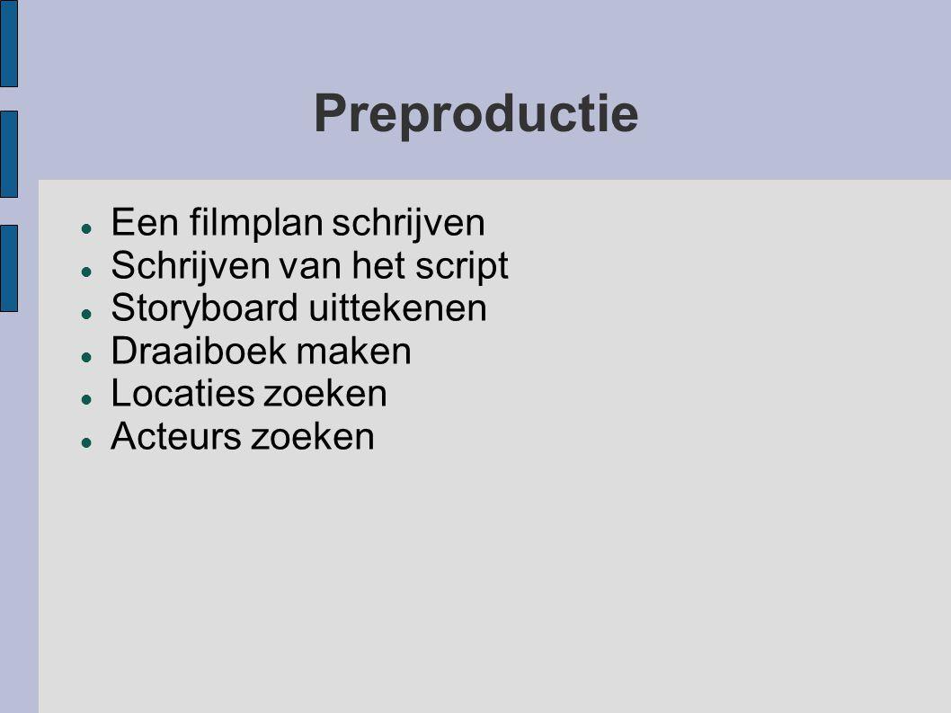 Preproductie Een filmplan schrijven Schrijven van het script Storyboard uittekenen Draaiboek maken Locaties zoeken Acteurs zoeken