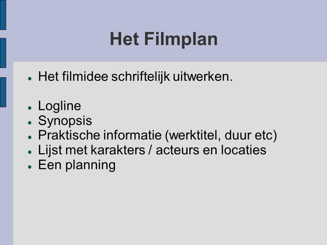 Het Filmplan Het filmidee schriftelijk uitwerken. Logline Synopsis Praktische informatie (werktitel, duur etc) Lijst met karakters / acteurs en locati