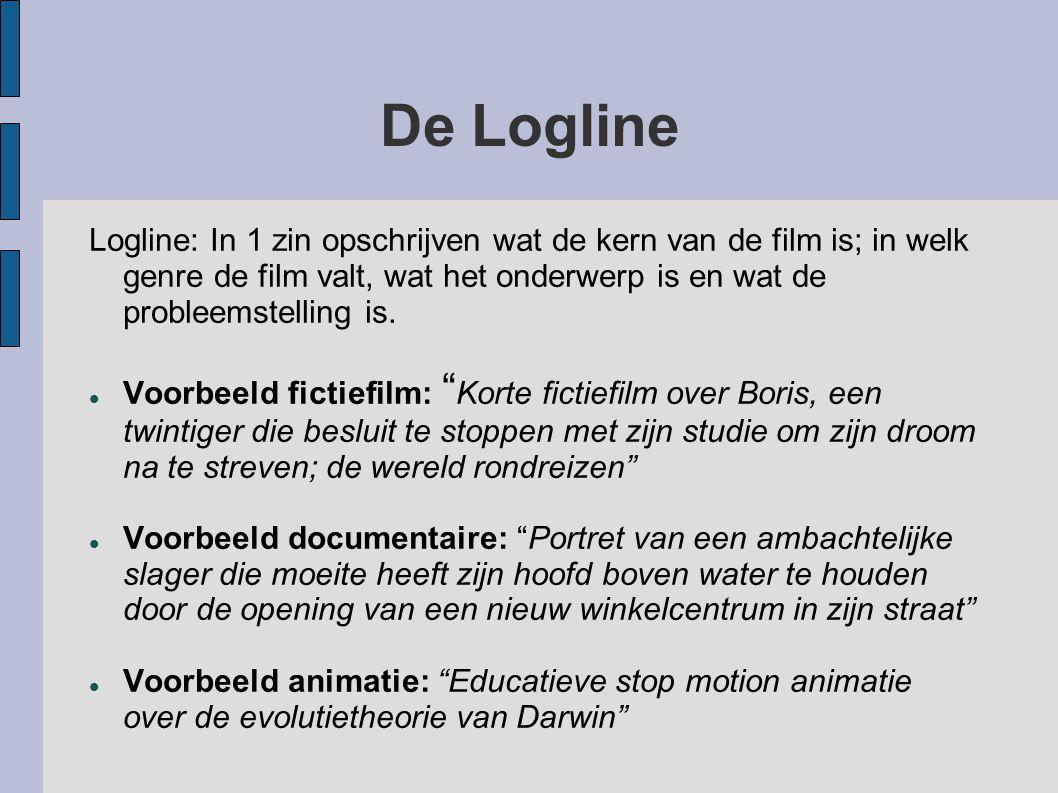 De Logline Logline: In 1 zin opschrijven wat de kern van de film is; in welk genre de film valt, wat het onderwerp is en wat de probleemstelling is. V