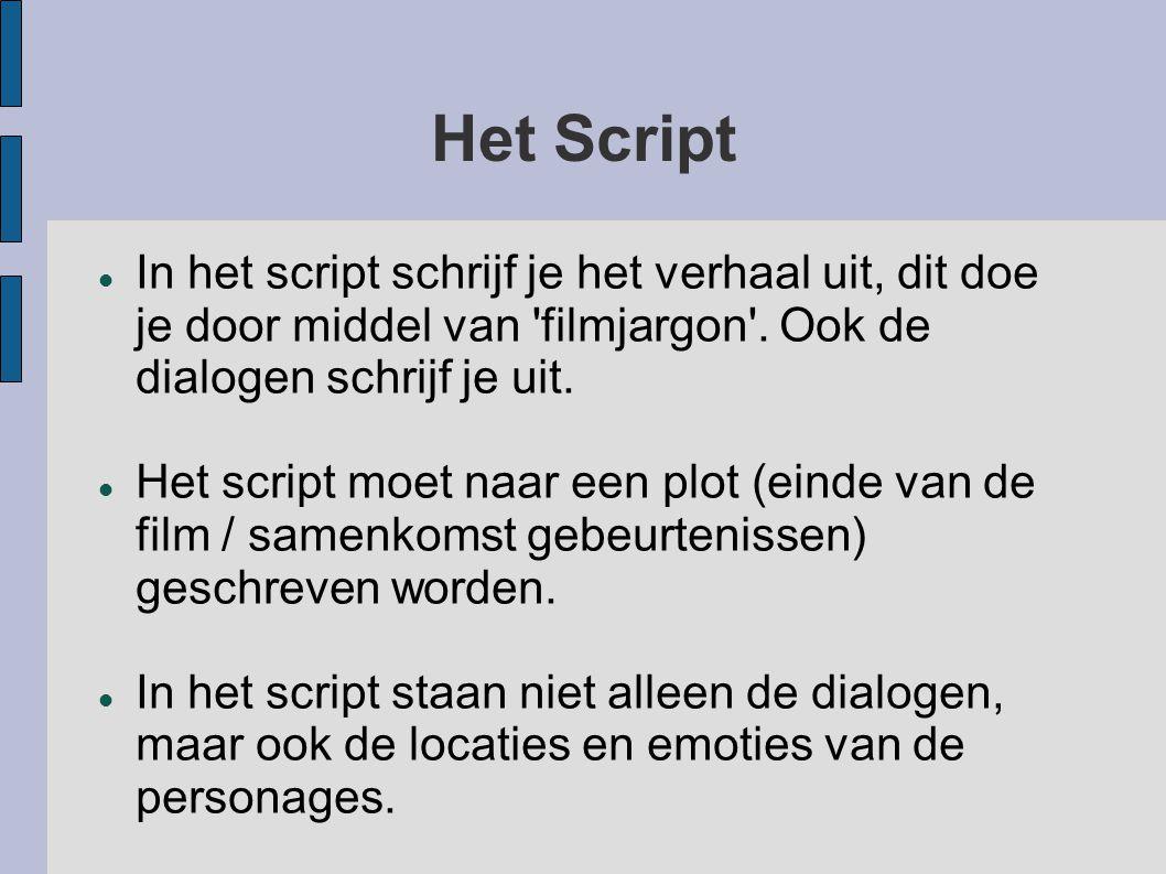 Het Script In het script schrijf je het verhaal uit, dit doe je door middel van 'filmjargon'. Ook de dialogen schrijf je uit. Het script moet naar een