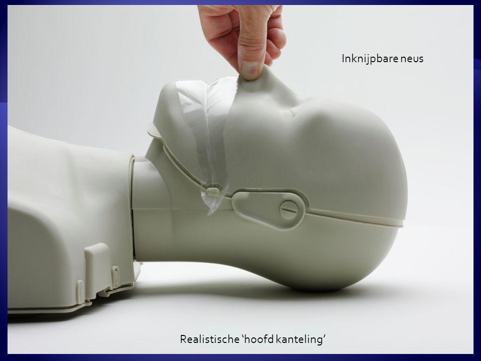  Diepte van de borstcompressies is afgestemd op de ERC/NRR richtlijnen van 4.0 tot 5.0 cm  Indien voldoende diep ingedrukt, hoort de cursist een duidelijke 'click'  Het Manikin veersysteem doorstaat eenvoudig meer dan 500.000 borstcompressies Hoorbare borstcompressie diepte