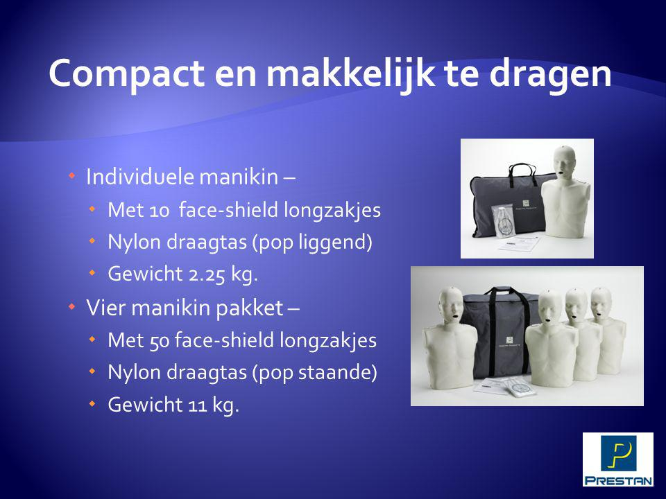  Individuele manikin –  Met 10 face-shield longzakjes  Nylon draagtas (pop liggend)  Gewicht 2.25 kg.