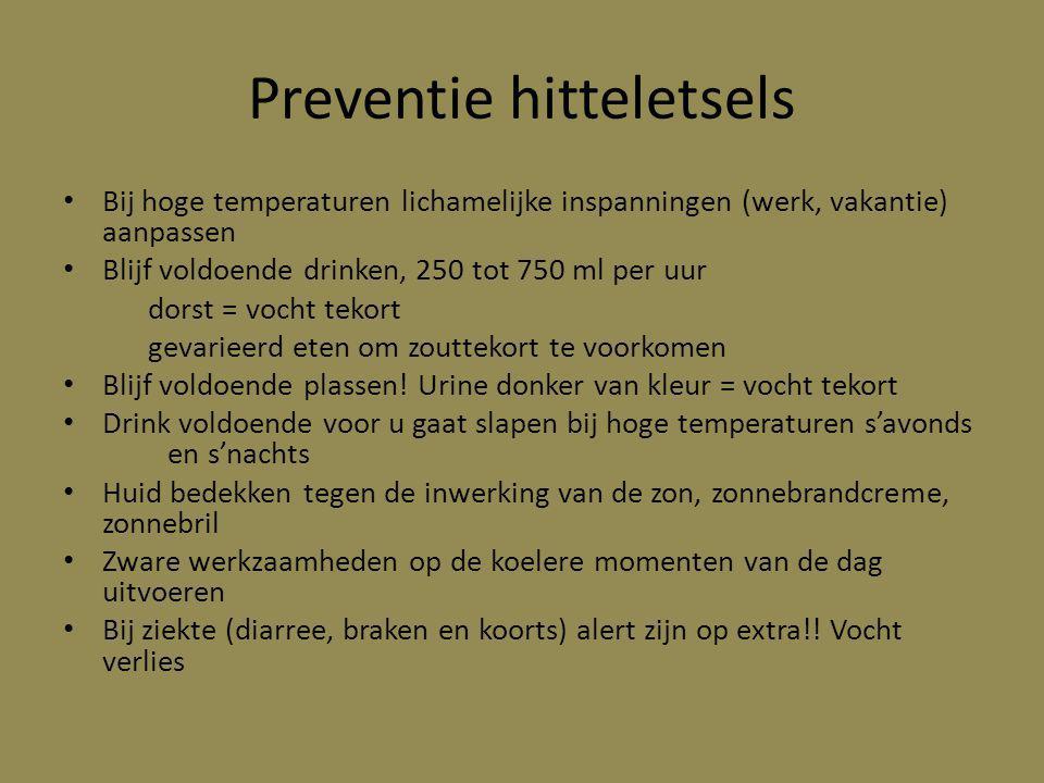 Preventie hitteletsels Bij hoge temperaturen lichamelijke inspanningen (werk, vakantie) aanpassen Blijf voldoende drinken, 250 tot 750 ml per uur dors