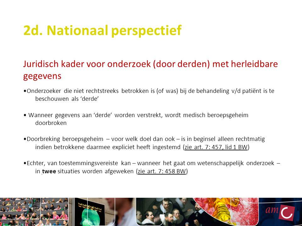 2d. Nationaal perspectief Juridisch kader voor onderzoek (door derden) met herleidbare gegevens Onderzoeker die niet rechtstreeks betrokken is (of was