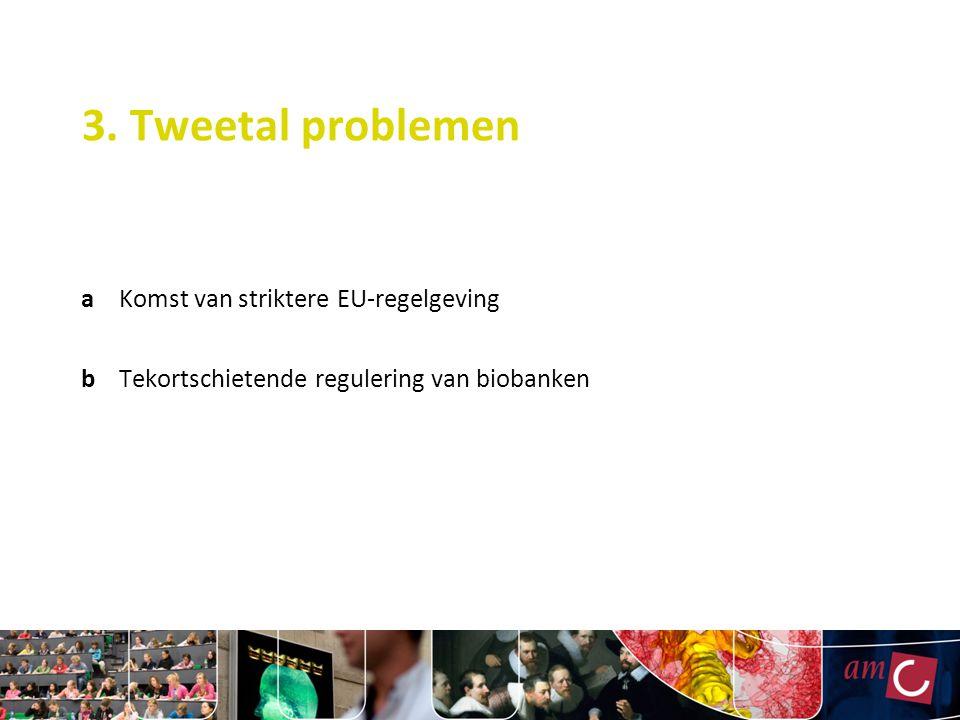 3. Tweetal problemen aKomst van striktere EU-regelgeving bTekortschietende regulering van biobanken