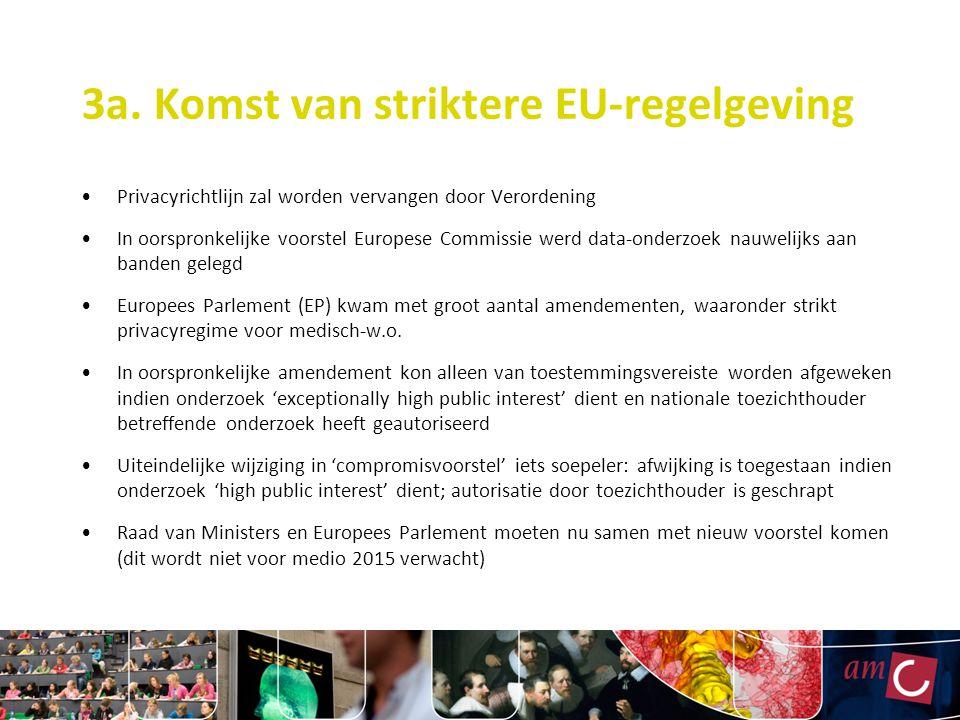 3a. Komst van striktere EU-regelgeving Privacyrichtlijn zal worden vervangen door Verordening In oorspronkelijke voorstel Europese Commissie werd data
