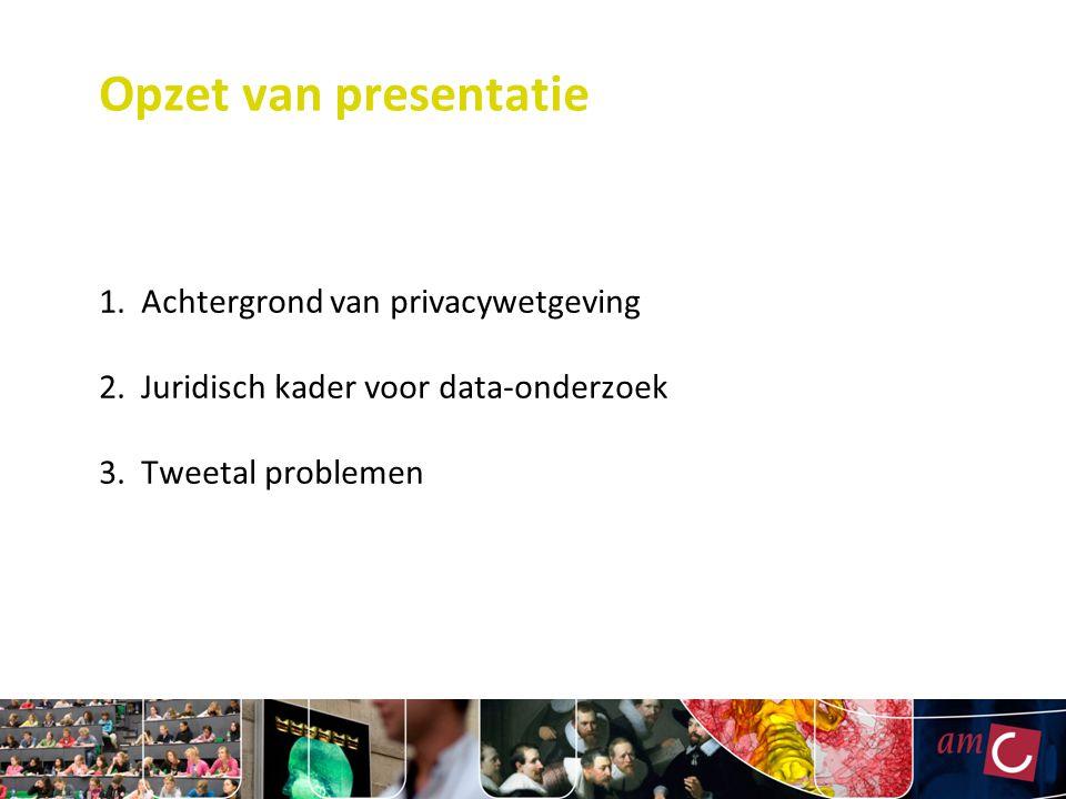 Opzet van presentatie 1. Achtergrond van privacywetgeving 2. Juridisch kader voor data-onderzoek 3. Tweetal problemen