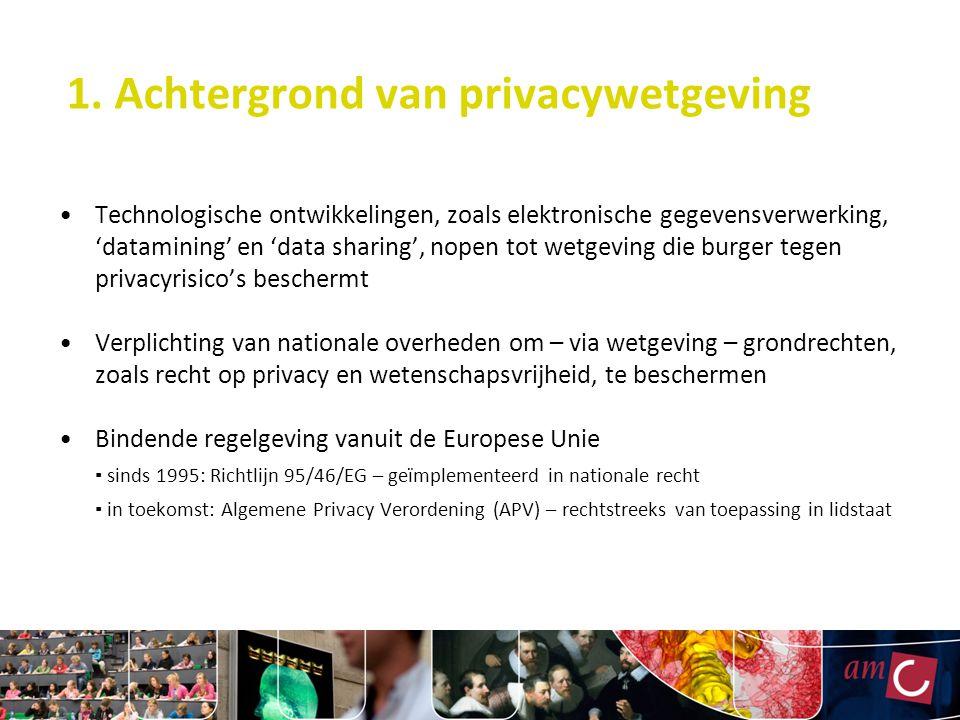 1. Achtergrond van privacywetgeving Technologische ontwikkelingen, zoals elektronische gegevensverwerking, 'datamining' en 'data sharing', nopen tot w
