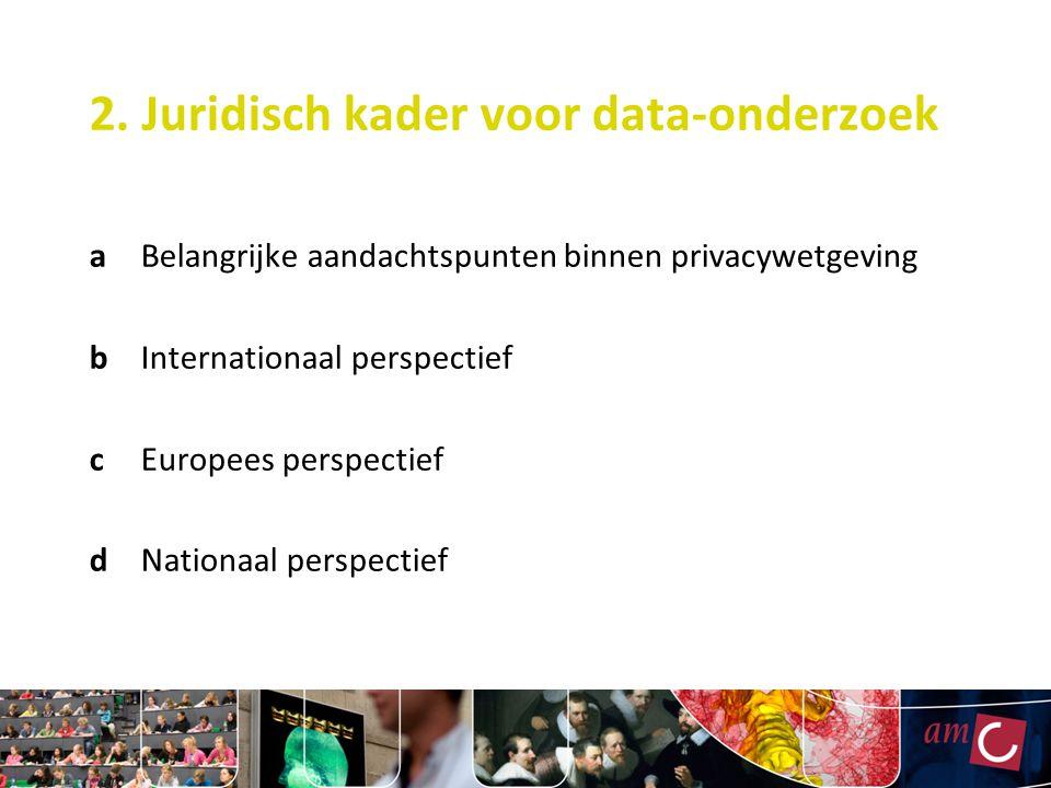2. Juridisch kader voor data-onderzoek aBelangrijke aandachtspunten binnen privacywetgeving bInternationaal perspectief cEuropees perspectief dNationa