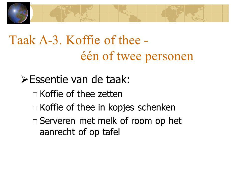 Taak A-3. Koffie of thee - één of twee personen  Essentie van de taak: – Koffie of thee zetten – Koffie of thee in kopjes schenken – Serveren met mel