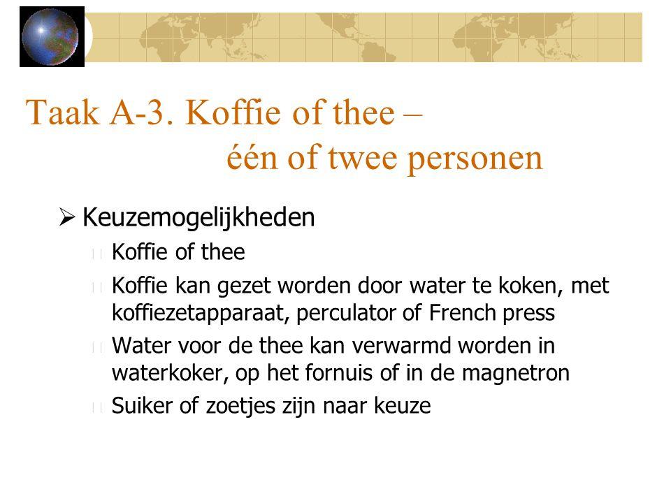 Taak A-3. Koffie of thee – één of twee personen  Keuzemogelijkheden – Koffie of thee – Koffie kan gezet worden door water te koken, met koffiezetappa