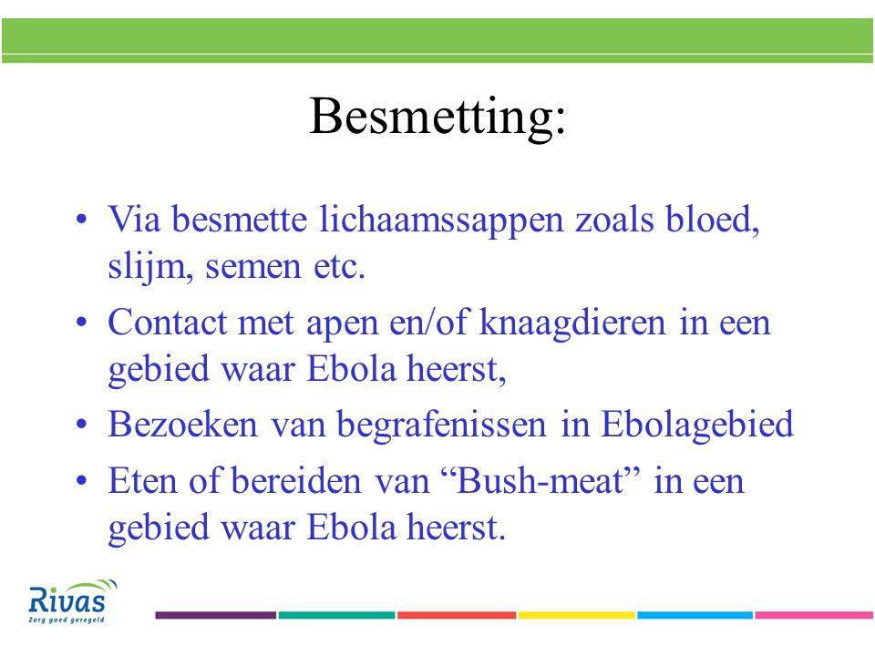Besmetting: Via besmette lichaamssappen zoals bloed, slijm, semen etc.