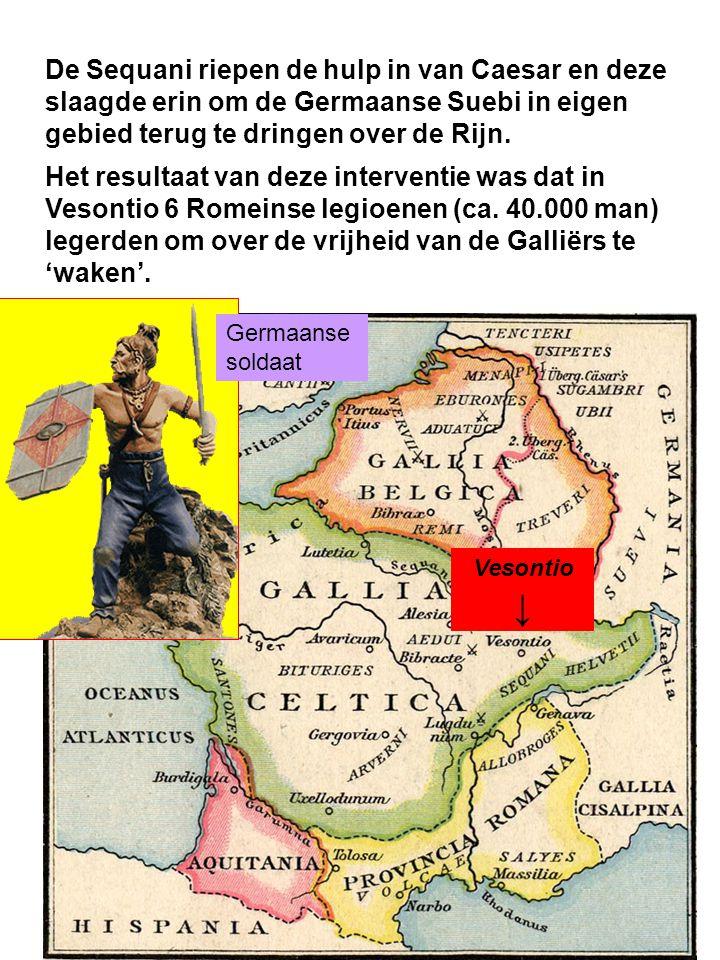 De Sequani riepen de hulp in van Caesar en deze slaagde erin om de Germaanse Suebi in eigen gebied terug te dringen over de Rijn.