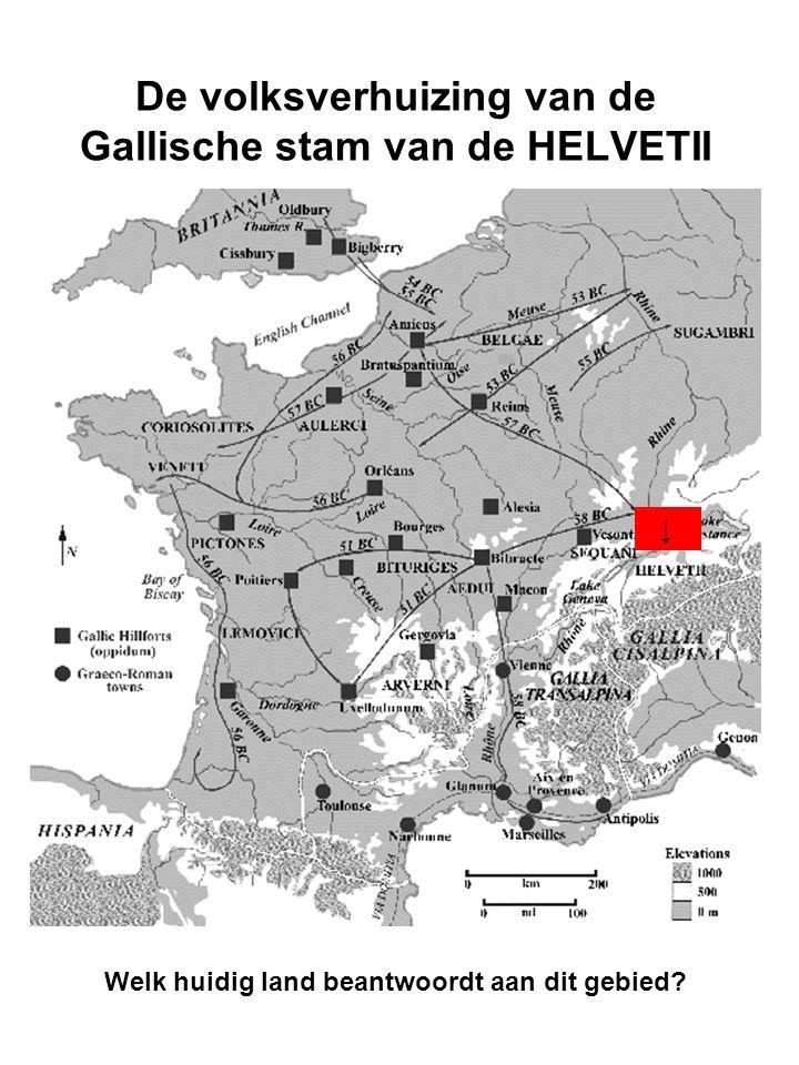 De volksverhuizing van de Gallische stam van de HELVETII Welk huidig land beantwoordt aan dit gebied.