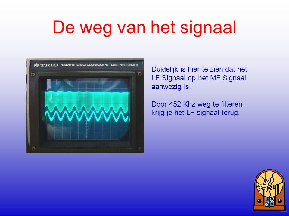 De weg van het signaal Duidelijk is hier te zien dat het LF Signaal op het MF Signaal aanwezig is. Door 452 Khz weg te filteren krijg je het LF signaa