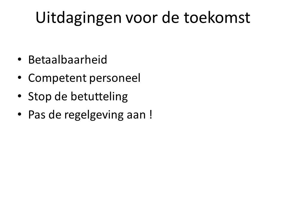 Uitdagingen voor de toekomst Betaalbaarheid Competent personeel Stop de betutteling Pas de regelgeving aan !