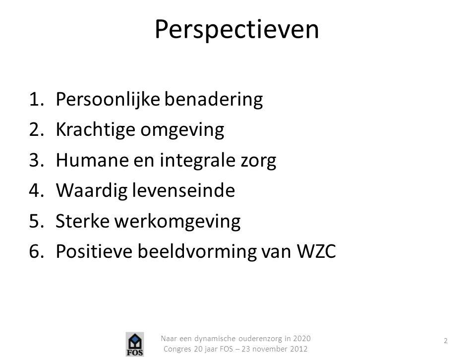Perspectieven 1.Persoonlijke benadering 2.Krachtige omgeving 3.Humane en integrale zorg 4.Waardig levenseinde 5.Sterke werkomgeving 6.Positieve beeldv