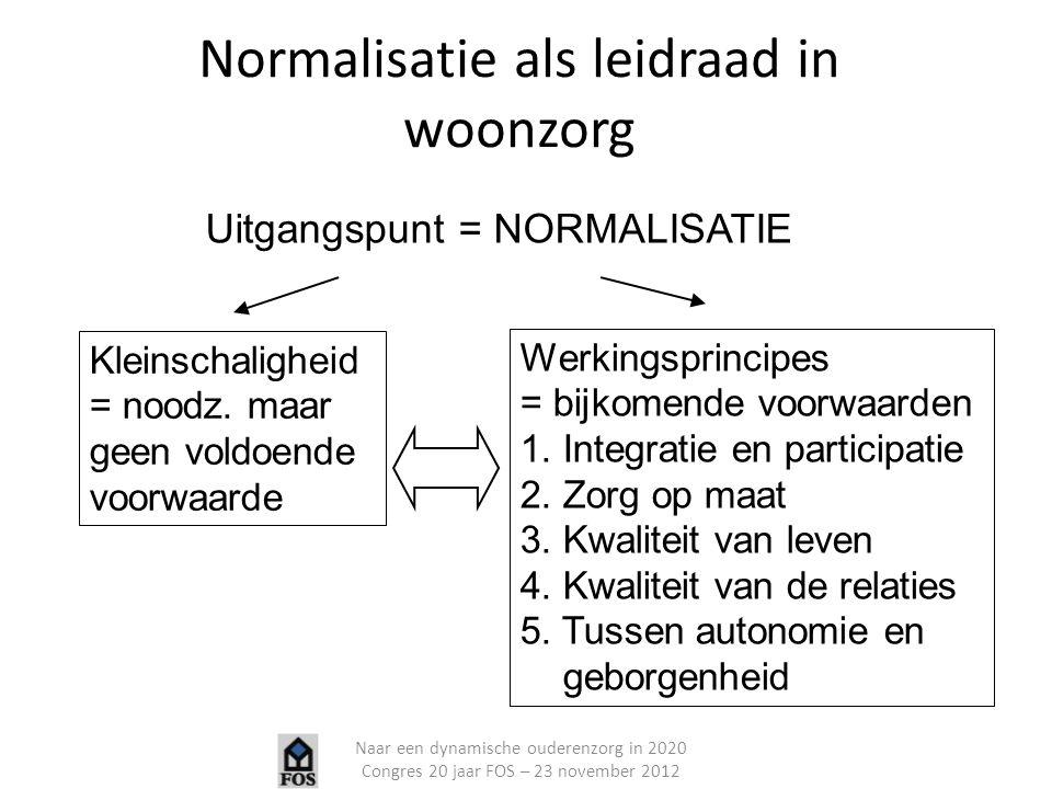 Uitgangspunt = NORMALISATIE Kleinschaligheid = noodz. maar geen voldoende voorwaarde Werkingsprincipes = bijkomende voorwaarden 1. Integratie en parti