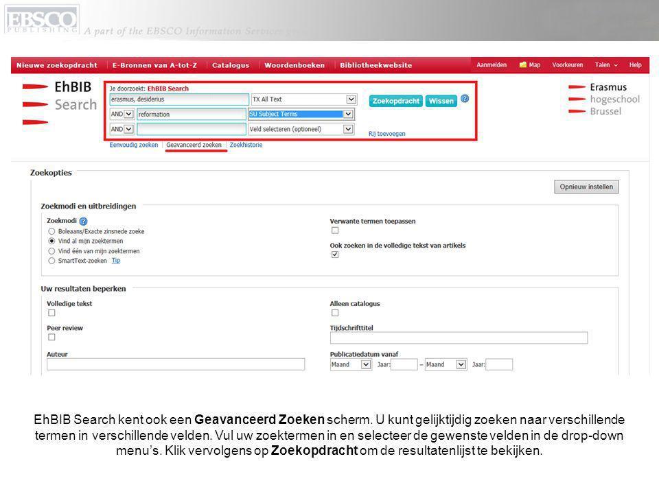 EhBIB Search kent ook een Geavanceerd Zoeken scherm.