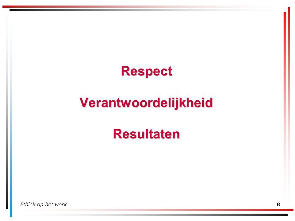 Ethiek op het werk9 Respect Behandel iedereen beleefd en met respect –Geen beledigende woorden en ongepaste grappen –Toon erkenning voor andermans inspanningen - geef verdiende complimenten Respecteer wat van de organisatie is –Gebruik tijd, apparatuur en middelen van de organisatie op de juiste wijze en efficiënt –Bescherm en verbeter uw werkomgeving