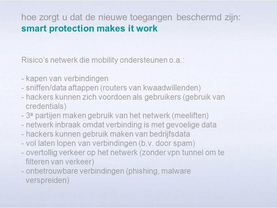 hoe zorgt u dat de nieuwe toegangen beschermd zijn: smart protection makes it work Risico's netwerk die mobility ondersteunen o.a.: - kapen van verbindingen - sniffen/data aftappen (routers van kwaadwillenden) - hackers kunnen zich voordoen als gebruikers (gebruik van credentials) - 3 e partijen maken gebruik van het netwerk (meeliften) - netwerk inbraak omdat verbinding is met gevoelige data - hackers kunnen gebruik maken van bedrijfsdata - vol laten lopen van verbindingen (b.v.