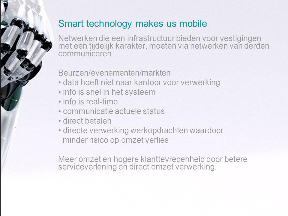 Smart technology makes us mobile Netwerken die een infrastructuur bieden voor vestigingen met een tijdelijk karakter, moeten via netwerken van derden communiceren.