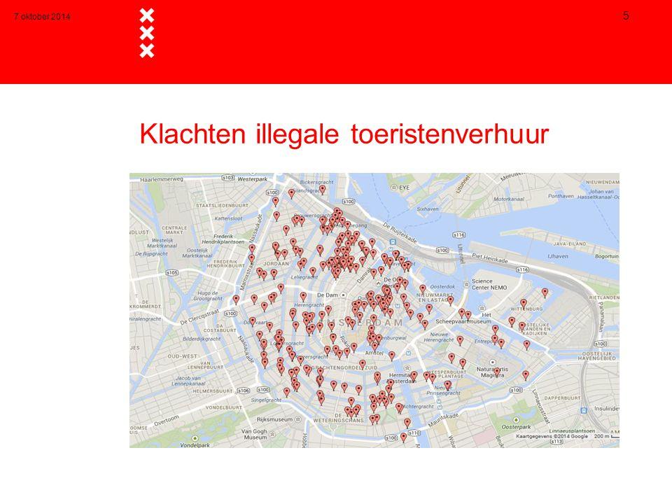 7 oktober 2014 5 Klachten illegale toeristenverhuur