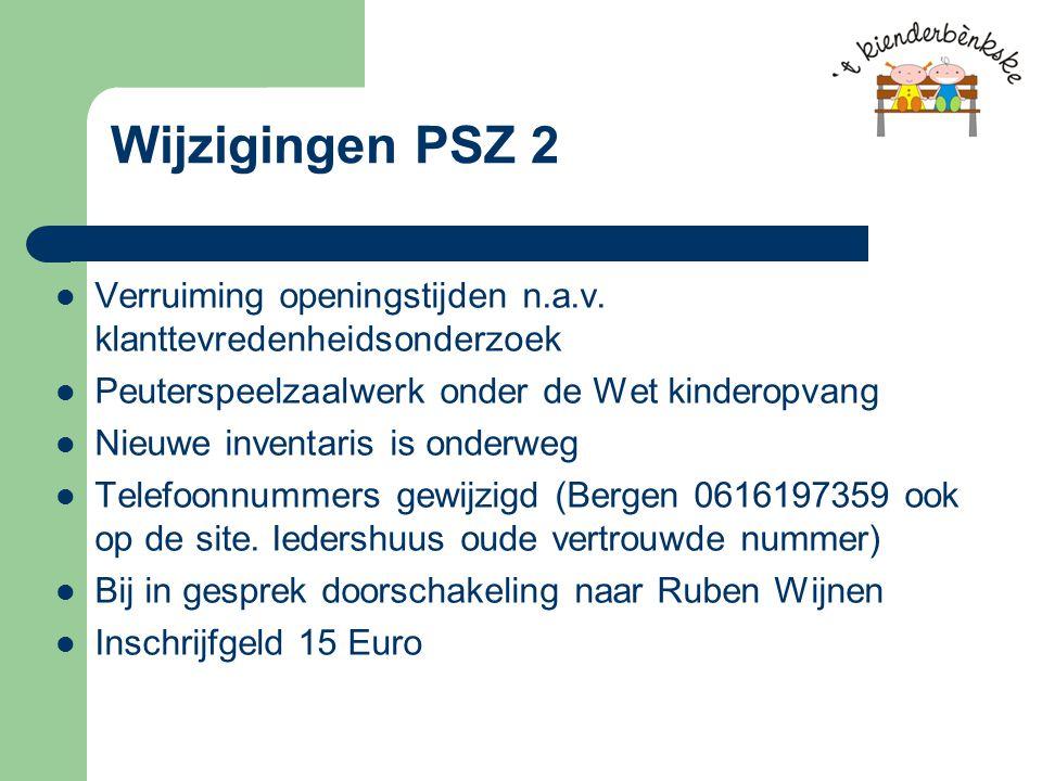 Wijzigingen PSZ 2 Verruiming openingstijden n.a.v.