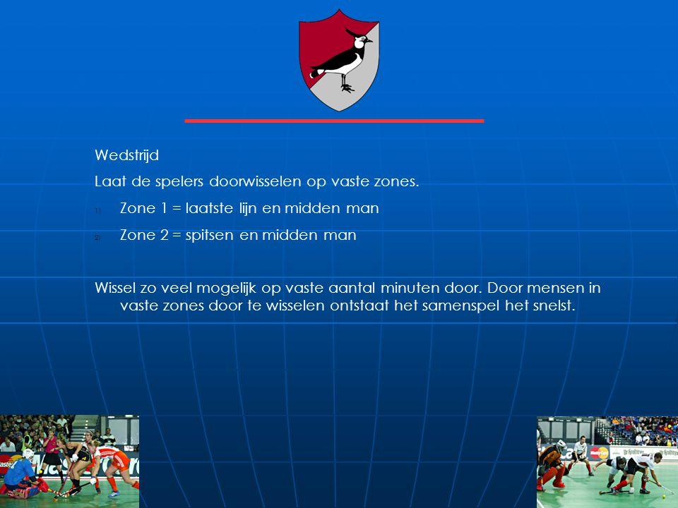 Wedstrijd Laat de spelers doorwisselen op vaste zones. 1) Zone 1 = laatste lijn en midden man 2) Zone 2 = spitsen en midden man Wissel zo veel mogelij