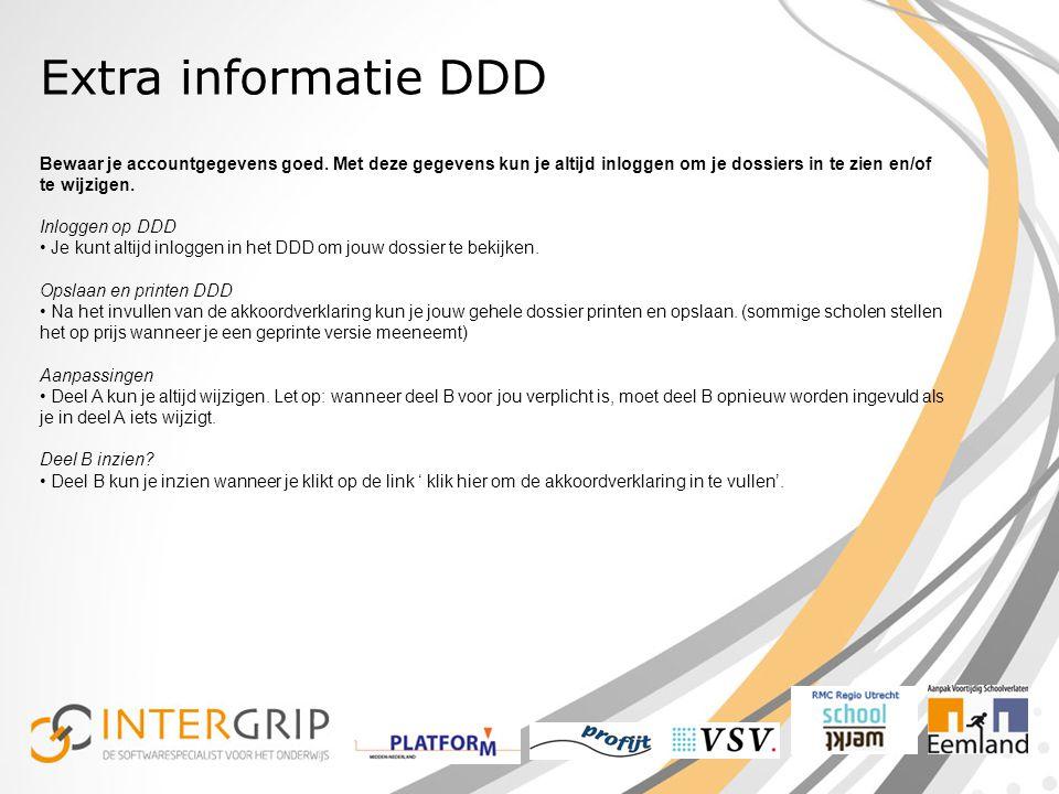 Extra informatie DDD Bewaar je accountgegevens goed.