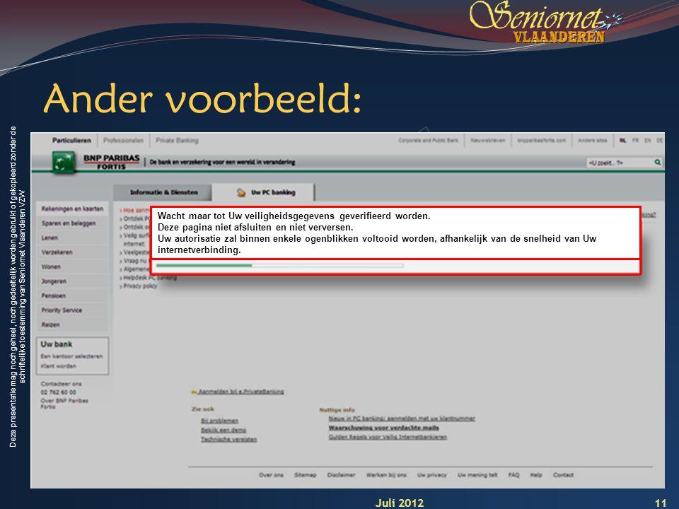 Deze presentatie mag noch geheel, noch gedeeltelijk worden gebruikt of gekopieerd zonder de schriftelijke toestemming van Seniornet Vlaanderen VZW 11 Ander voorbeeld: Wacht maar tot Uw veiligheidsgegevens geverifieerd worden.