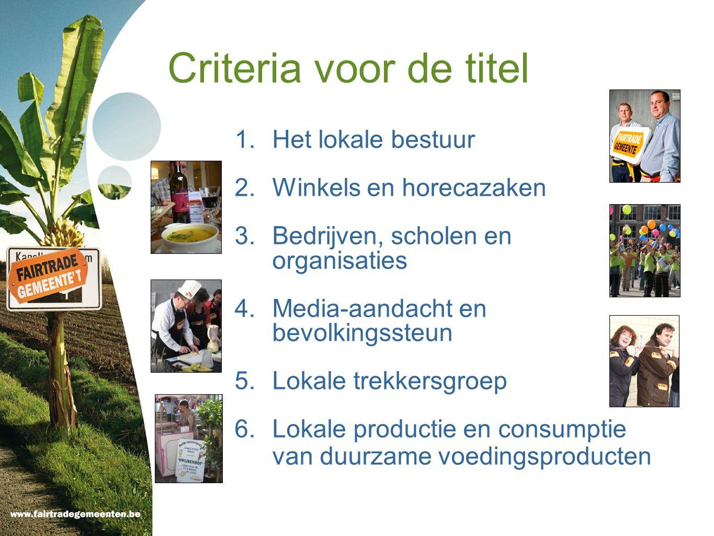 Criteria voor de titel 1.Het lokale bestuur 2.Winkels en horecazaken 3.Bedrijven, scholen en organisaties 4.Media-aandacht en bevolkingssteun 5.Lokale trekkersgroep 6.Lokale productie en consumptie van duurzame voedingsproducten