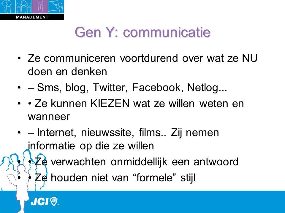 Gen Y: communicatie Ze communiceren voortdurend over wat ze NU doen en denken – Sms, blog, Twitter, Facebook, Netlog...
