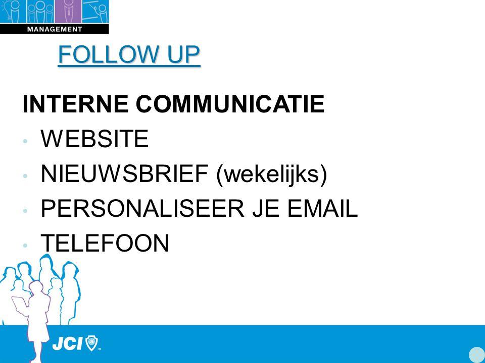 FOLLOW UP INTERNE COMMUNICATIE WEBSITE NIEUWSBRIEF (wekelijks) PERSONALISEER JE EMAIL TELEFOON
