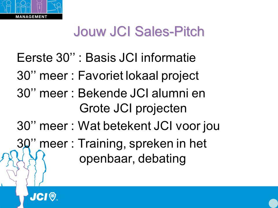 Jouw JCI Sales-Pitch Eerste 30'' : Basis JCI informatie 30'' meer : Favoriet lokaal project 30'' meer : Bekende JCI alumni en Grote JCI projecten 30'' meer : Wat betekent JCI voor jou 30'' meer : Training, spreken in het openbaar, debating