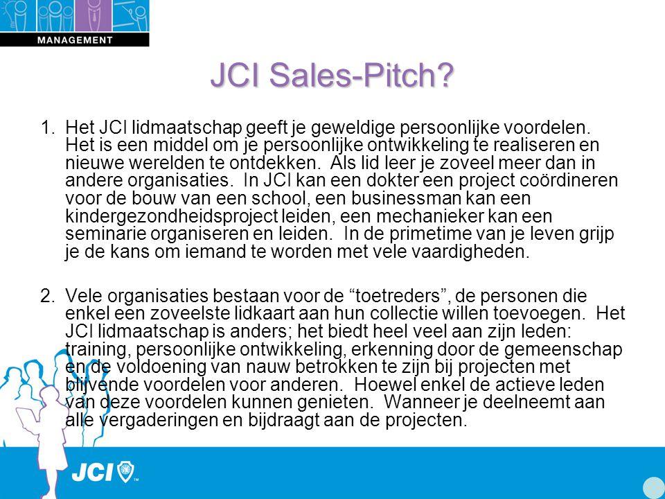 JCI Sales-Pitch. 1.Het JCI lidmaatschap geeft je geweldige persoonlijke voordelen.