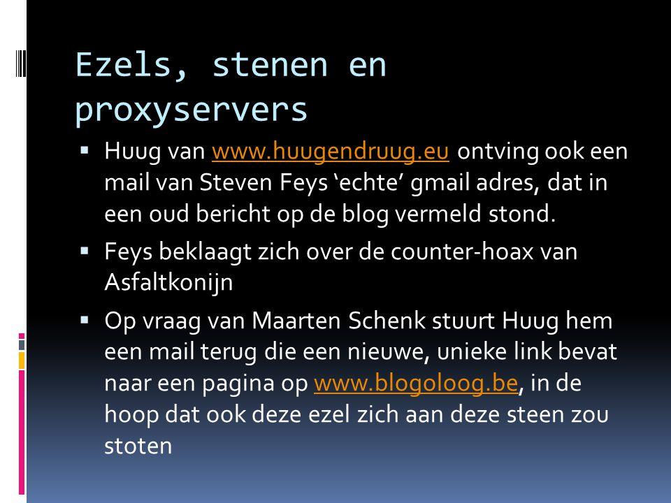 Ezels, stenen en proxyservers  Huug van www.huugendruug.eu ontving ook een mail van Steven Feys 'echte' gmail adres, dat in een oud bericht op de blog vermeld stond.www.huugendruug.eu  Feys beklaagt zich over de counter-hoax van Asfaltkonijn  Op vraag van Maarten Schenk stuurt Huug hem een mail terug die een nieuwe, unieke link bevat naar een pagina op www.blogoloog.be, in de hoop dat ook deze ezel zich aan deze steen zou stotenwww.blogoloog.be