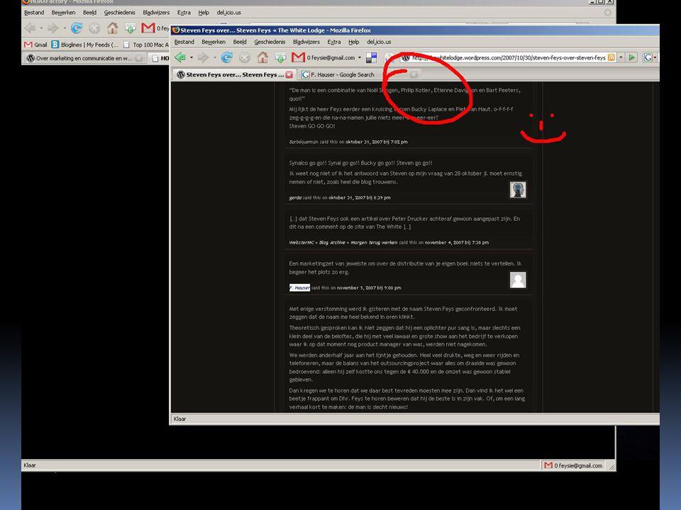 Hoaxfactory en feysie@gmail.com  In de linkerbovenhoek stond subtiel een verwijzing naar Hoaxfactory  Op www.hoaxfactory.com stond een mysterieus logo met onderschrift dat de macht van bloggers over marketeers uitroeptwww.hoaxfactory.com  Subtiel verborgen staan drie logo's in de linker-onderhoek  Er was ook een gmail adres te zien: feysie@gmail.com