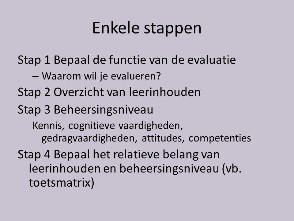 Enkele stappen Stap 1 Bepaal de functie van de evaluatie – Waarom wil je evalueren.