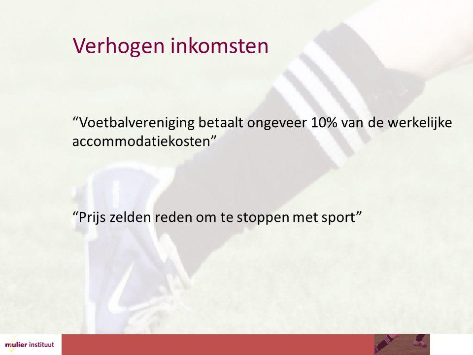 Verhogen inkomsten Voetbalvereniging betaalt ongeveer 10% van de werkelijke accommodatiekosten Prijs zelden reden om te stoppen met sport