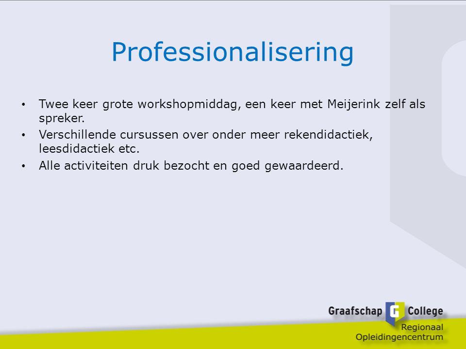 Professionalisering Twee keer grote workshopmiddag, een keer met Meijerink zelf als spreker. Verschillende cursussen over onder meer rekendidactiek, l