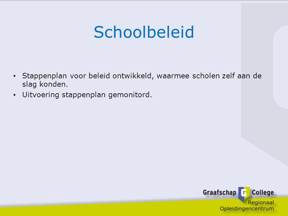 Schoolbeleid Stappenplan voor beleid ontwikkeld, waarmee scholen zelf aan de slag konden. Uitvoering stappenplan gemonitord.
