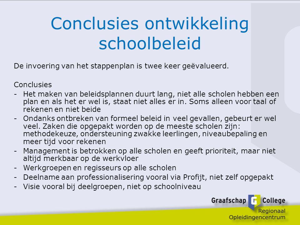 Conclusies ontwikkeling schoolbeleid De invoering van het stappenplan is twee keer geëvalueerd. Conclusies -Het maken van beleidsplannen duurt lang, n