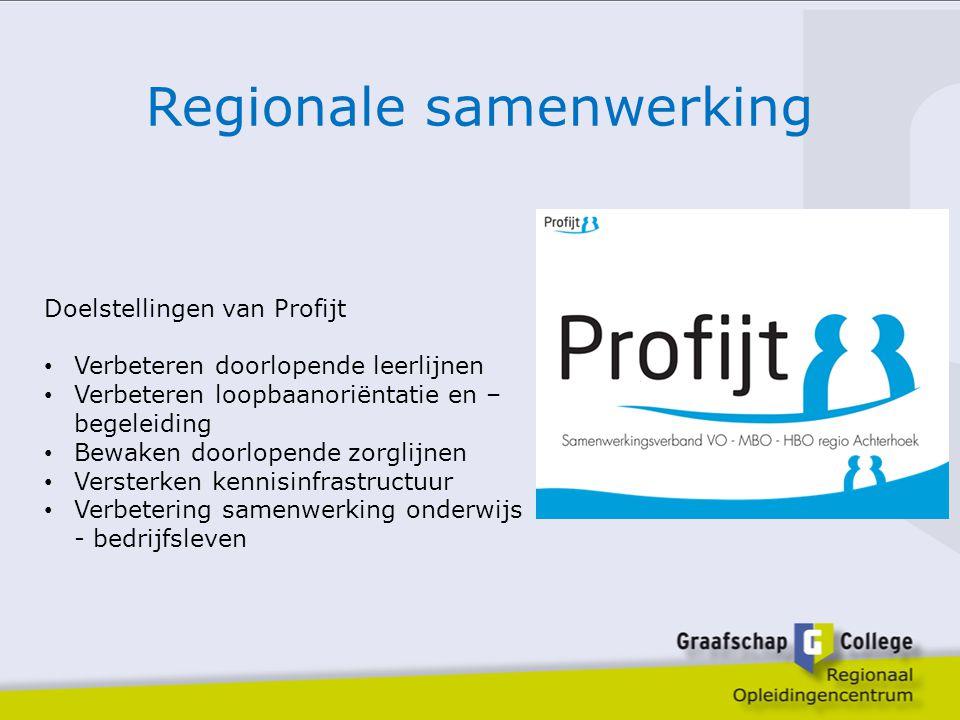 Regionale samenwerking Doelstellingen van Profijt Verbeteren doorlopende leerlijnen Verbeteren loopbaanoriëntatie en – begeleiding Bewaken doorlopende