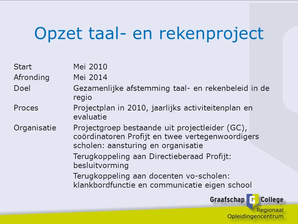 Opzet taal- en rekenproject StartMei 2010 AfrondingMei 2014 Doel Gezamenlijke afstemming taal- en rekenbeleid in de regio ProcesProjectplan in 2010, j