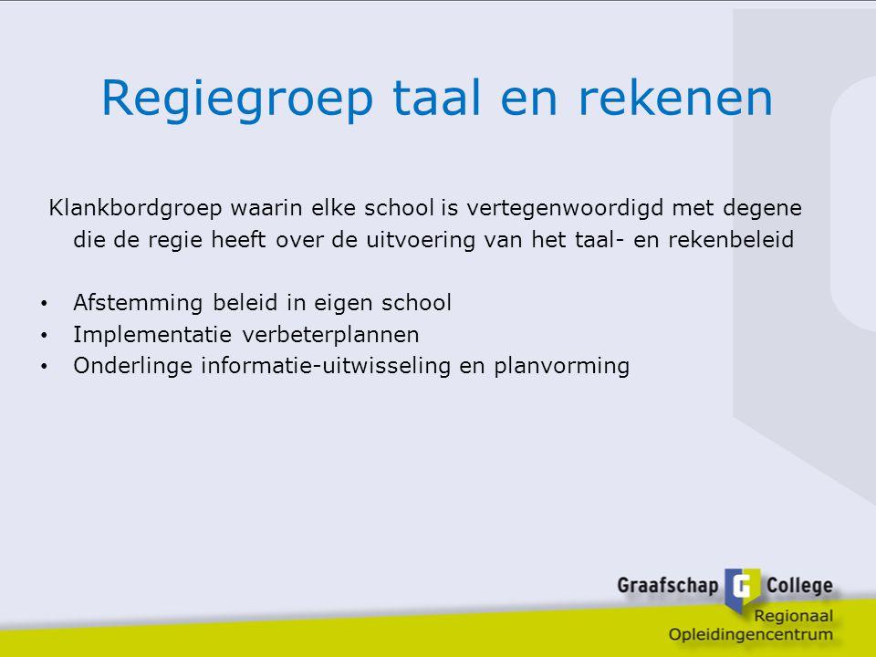 Regiegroep taal en rekenen Klankbordgroep waarin elke school is vertegenwoordigd met degene die de regie heeft over de uitvoering van het taal- en rek