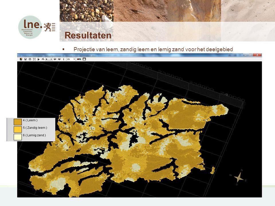 Leemmodel Resultaten  Projectie van leem, zandig leem en lemig zand voor het deelgebied