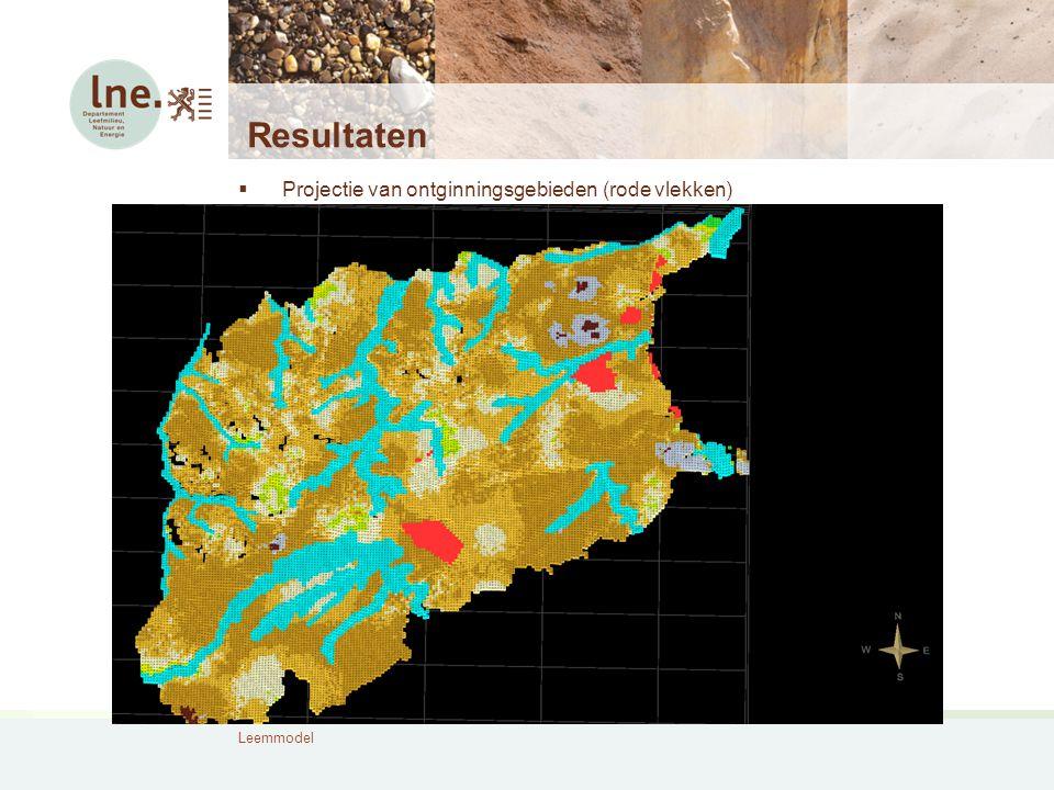 Resultaten  Projectie van ontginningsgebieden (rode vlekken)
